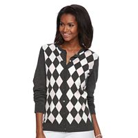 Women's Croft & Barrow® Ribbed-Trim Cardigan