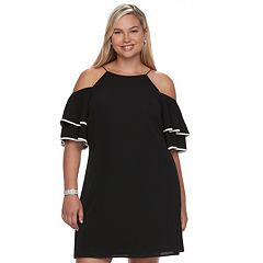 Juniors' Plus Size Wrapper Tiered Sleeve Cold-Shoulder Dress