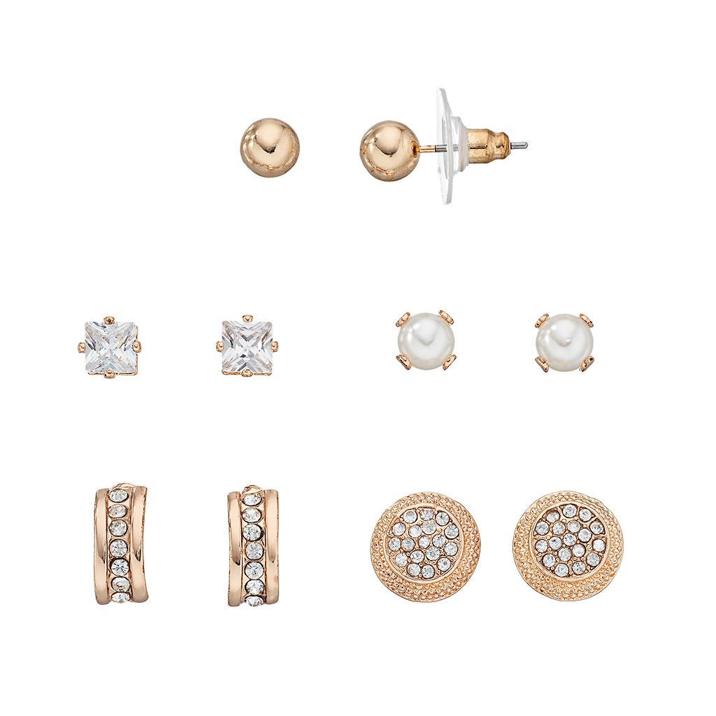 Simulated Pearl, Simulated Crystal, Ball Stud & Half Hoop Earring Set
