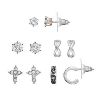 Cubic Zirconia Solitaire, Cross & Half Hoop Earring Set
