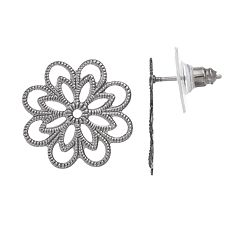 Textured Openwork Flower Drop Earrings