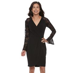 Petite Suite 7 Lace Sleeve Faux-Wrap Evening Dress