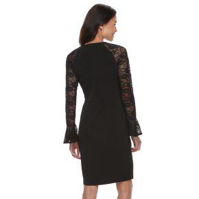 Petite Suite 7 Lace Sleeve Faux-Wrap Evening Dress