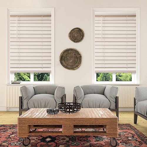Custom Cut To Order Cordless 48-in. Faux Wood Blinds