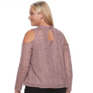 Juniors' Plus Size Mudd® Illusion Lace Cold-Shoulder Top