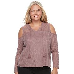 Juniors' Plus Size Mudd® Illusion Lace Cold-Shoulder Top
