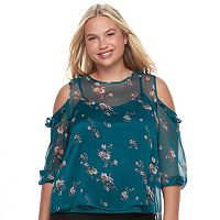 Juniors' Plus Size Mudd® Ruffle Cold-Shoulder Top