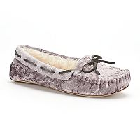 Women's SO® Crushed Velvet Moccasin Slippers