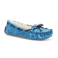 Women's SO® Crushed Velvet Moccasin Slippers