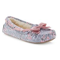 SO® Women's Floral Ribbon Bow Moccasin Slippers