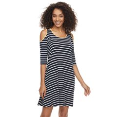 Women's Nina Leonard Cold-Shoulder Trapeze Dress