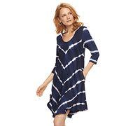 Women's Nina Leonard Tie-Dye Trapeze Dress