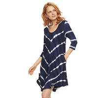 Women's Nina Leonard Tie-Dye Trapeze Dress