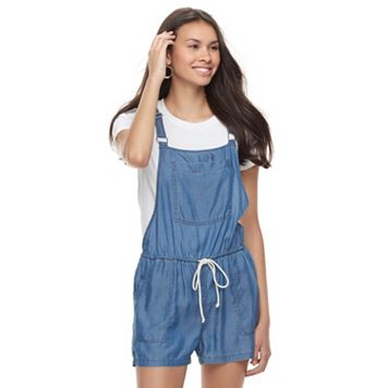Juniors' SO® Chambray Pocket Front Romper