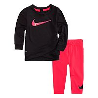 Baby Girl Nike Dri-FIT Crossover Hem Black Tunic & Leggings Set