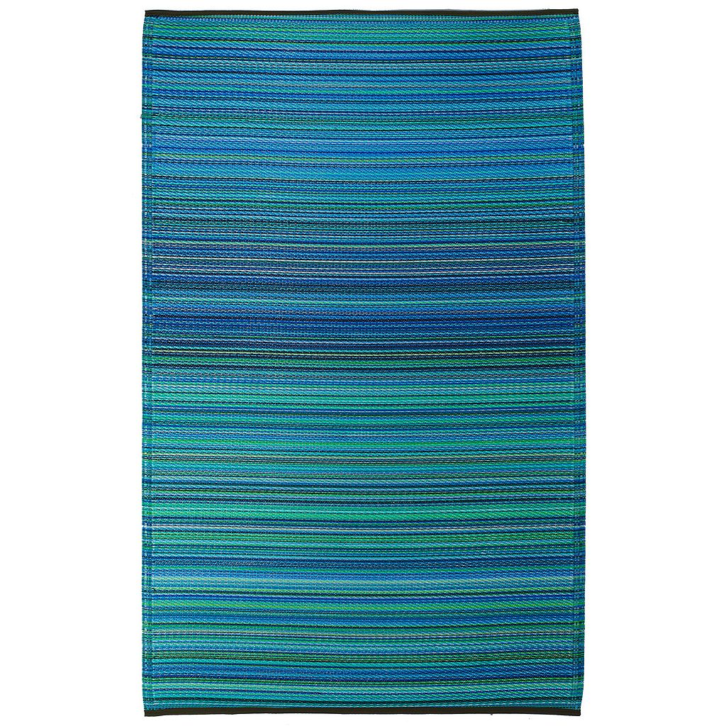 Fab Habitat World Cancun Striped Reversible Indoor Outdoor Rug