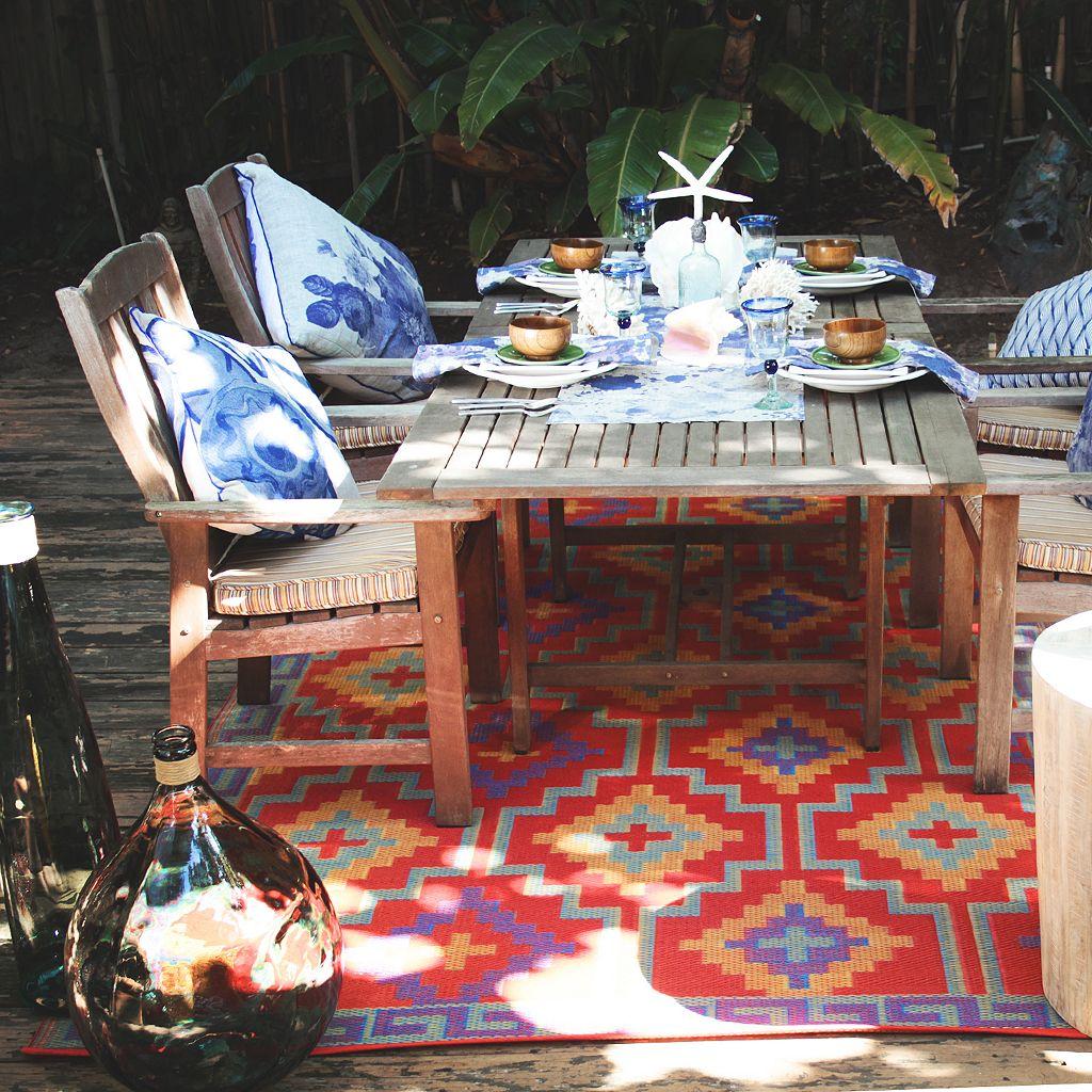 Fab Habitat World Lhasa Geometric Reversible Indoor Outdoor Rug