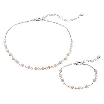 LC Lauren Conrad Pink Beaded Choker Necklace & Bracelet Set