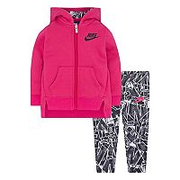 Baby Girl Nike Hooded Fleece Cardigan & Geometric Leggings Set