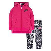 Baby Girl Nike Hooded Fleece Cardigan & Geometric Leggings Set