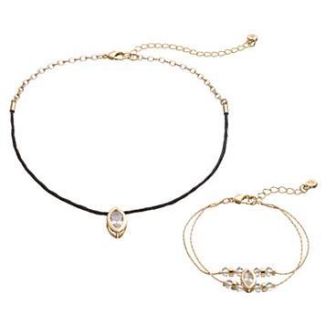 LC Lauren Conrad Cubic Zirconia Marquise Choker Necklace & Bracelet Set