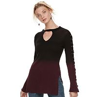 Women's Rock & Republic® Dip-Dyed Lace Up Sweater