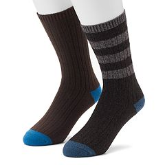 Men's Climatesmart 2-pack Rugby-Striped & Solid Crew Socks