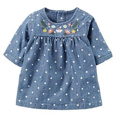 Baby Girl Carter's Polka-Dot Embroidered Chambray Top