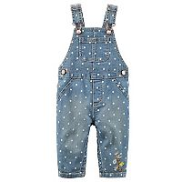 Baby Girl Carter's Polka-Dot Denim Overalls
