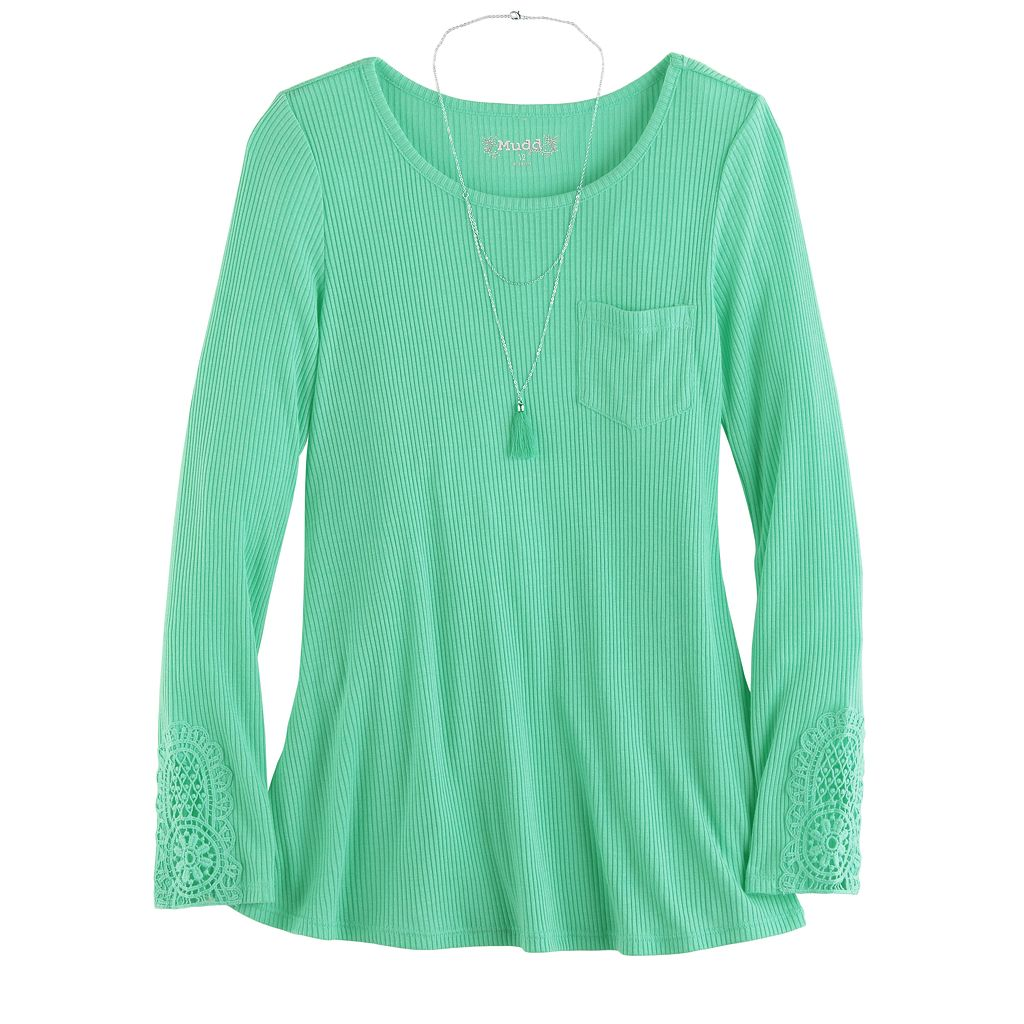 Girls 7-16 & Plus Size Mudd® Ribbed Pocket Jegging Tee with Necklace