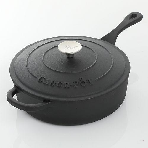Crock-Pot 3.5-qt. Pre-Seasoned Cast- Iron Deep Saute Pan