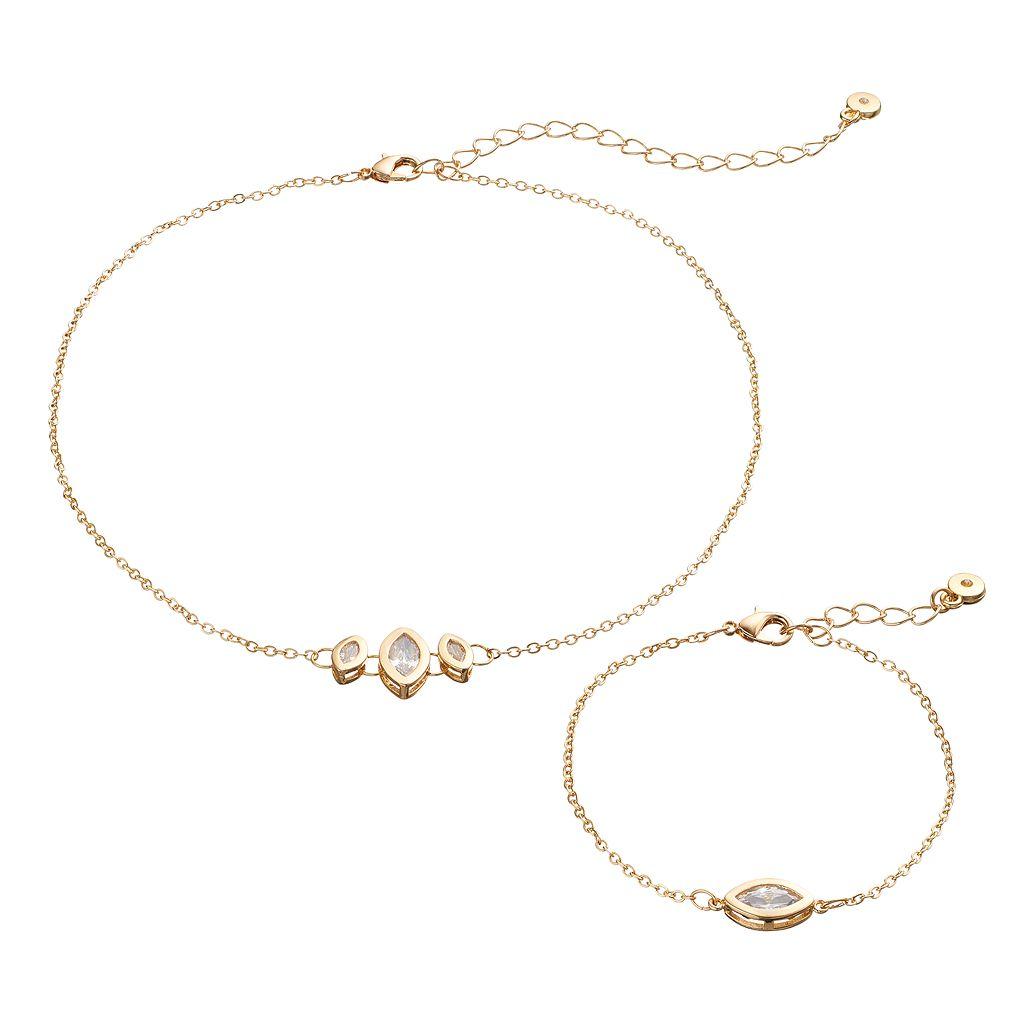 LC Lauren Conrad Cubic Zirconia Marquise Chain Choker Necklace & Bracelet Set