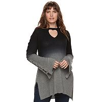 Plus Size Rock & Republic® Dip-Dyed Lace Up Sweater