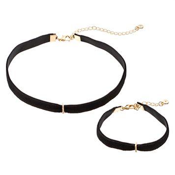 LC Lauren Conrad Cubic Zirconia Bar Black Cord Choker Necklace & Bracelet Set