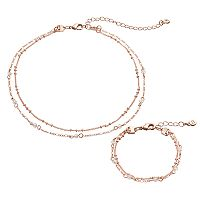 LC Lauren Conrad Beaded Double Strand Choker Necklace & Bracelet Set