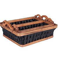 Household Essentials 3-piece Paper Rope Wicker Basket Tray Set