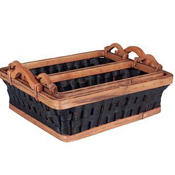 Household Essentials 3-piece Paper Rope Wicker Basket Tray Set