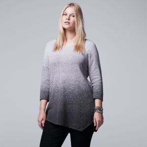 Plus Size Simply Vera Vera Wang Ombre Asymmetrical Crewneck Sweater