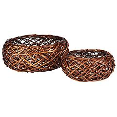 Household Essentials 2 pc Autumn Bird Nest Willow Basket Set