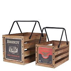 Household Essentials 2 pc Wooden Crate Set
