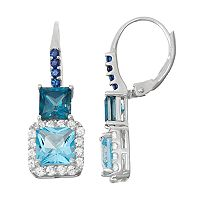 Sterling Silver Topaz & Lab-Created Sapphire Square Halo Drop Earrings