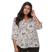 Plus Size Apt. 9® Satin 1/4-Zip Top