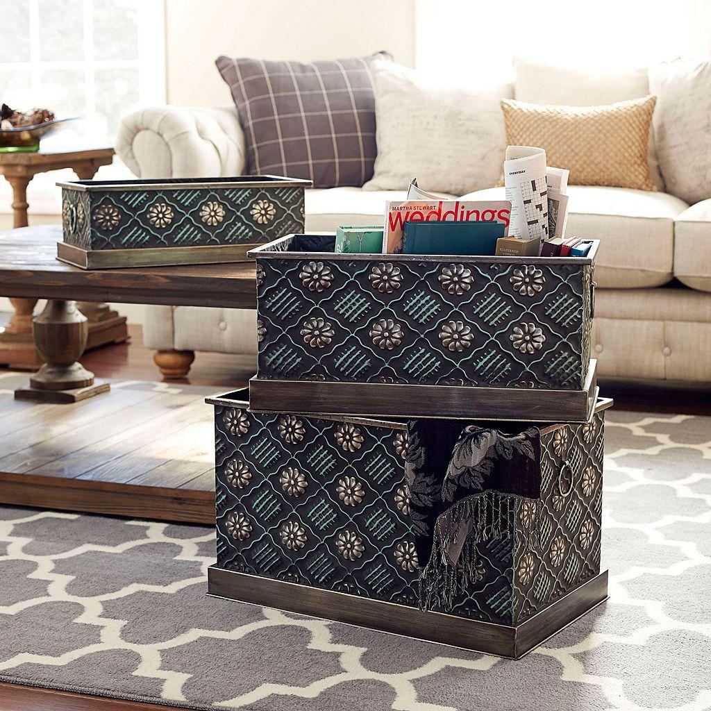 Household Essentials 3-piece Chelsea Metal Storage Box Set