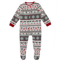 Toddler Cuddl Duds Family Jammies Bear Fairisle One-Piece Footed Pajamas
