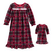 Disney's Mickey Mouse Toddler Girl Plaid Microfleece Nightgown & Doll Gown Set by Jammies For Your Families