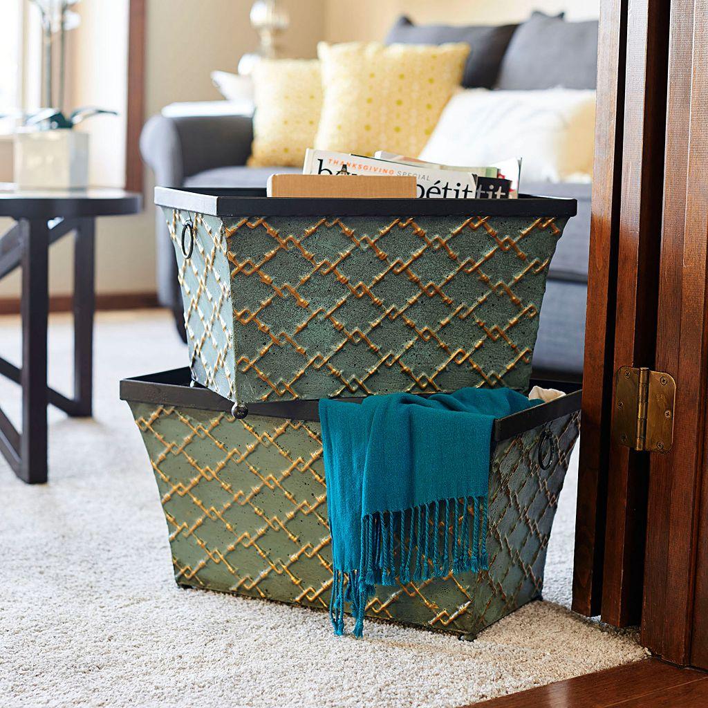 Household Essentials 2-piece Link Metal Storage Bin Set