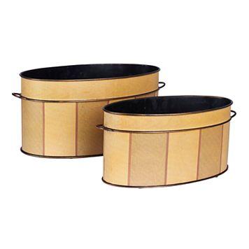 Household Essentials 2-piece Oval Vintage Metal Storage Bin Set