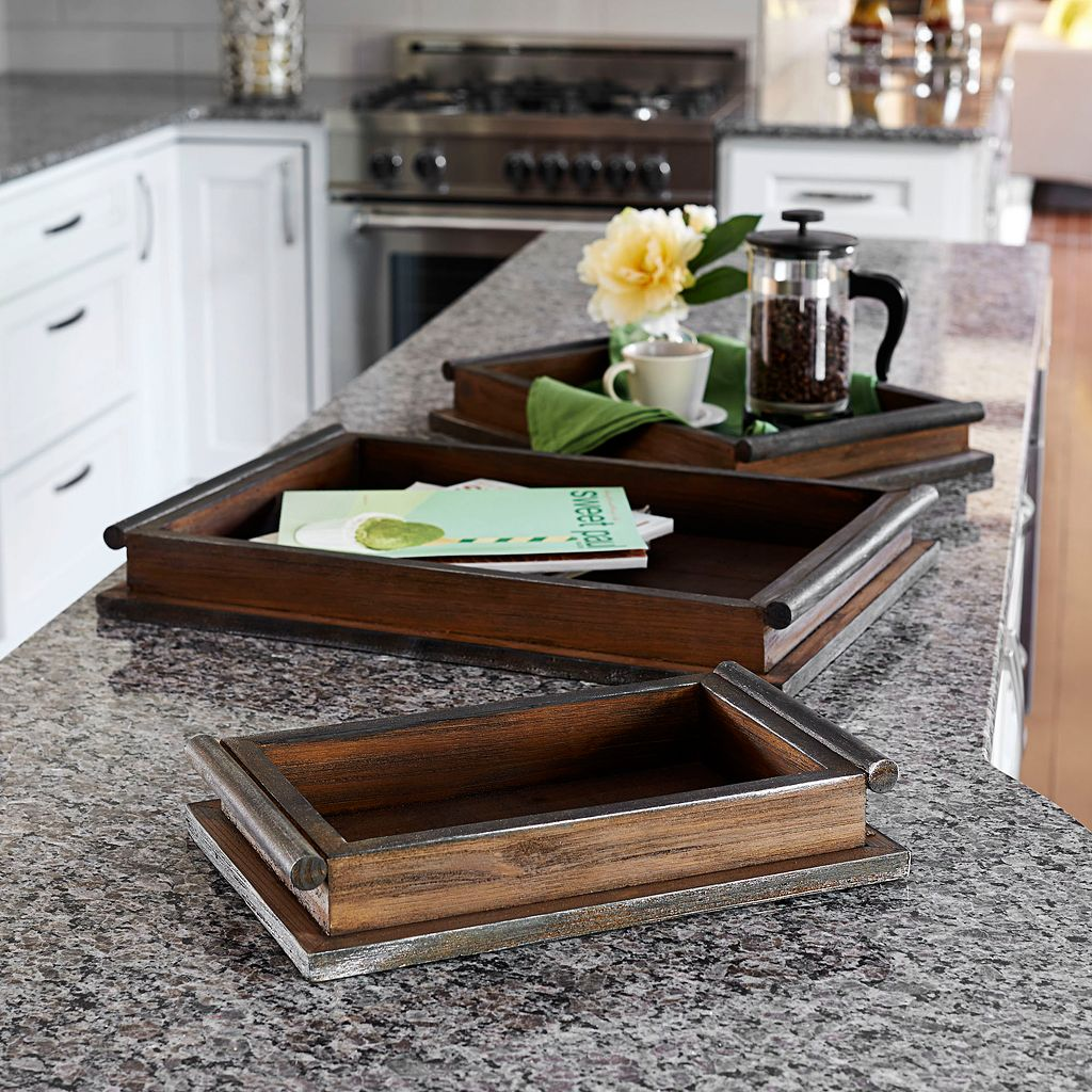 Household Essentials 3-piece Rustic Wooden Tray Set