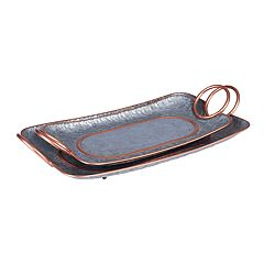 Household Essentials 2-piece Decorative Galvanized Metal Tray Set
