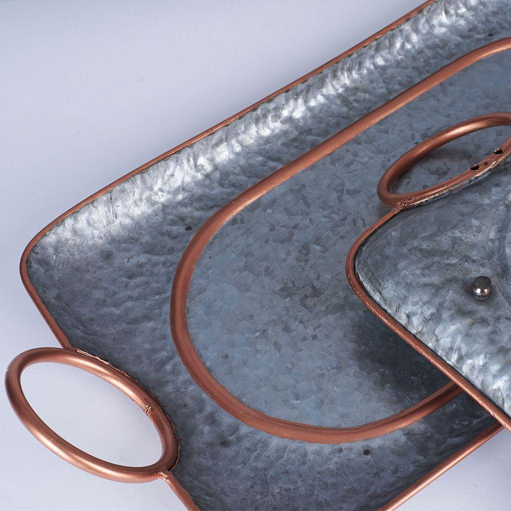 Household Essentials 2-piece Decorative Galvanized Metal Tray Set